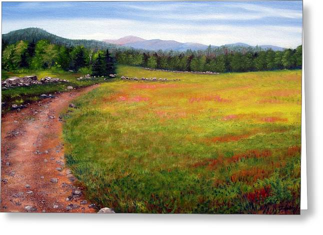 Blueberry Paintings Greeting Cards - Blueberry Field 09 Greeting Card by Laura Tasheiko