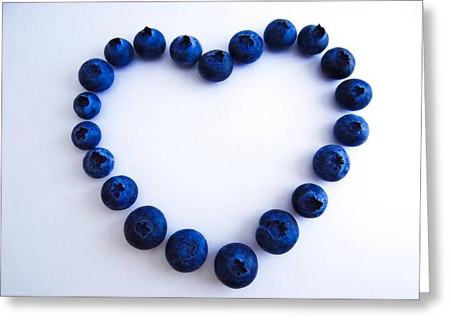 Blueberry Heart Greeting Card by Julia Wilcox