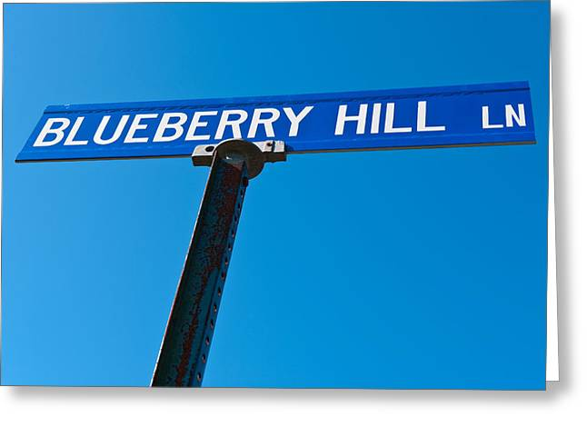 Blueberries Greeting Cards - Blueberry Hill Sign Greeting Card by Steve Gadomski