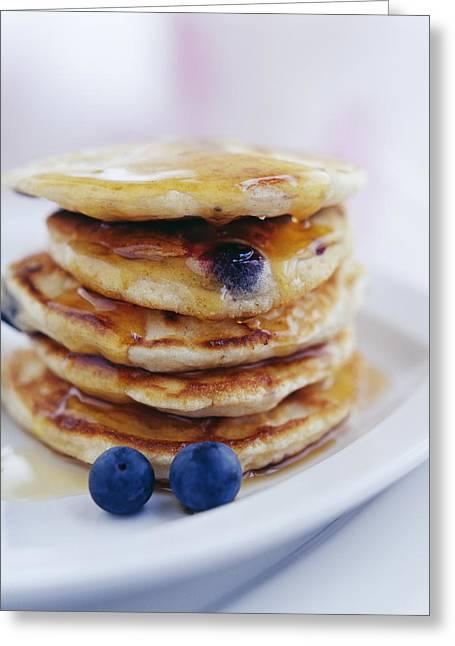 Pancakes Greeting Cards - Blueberry Pancakes Greeting Card by David Munns