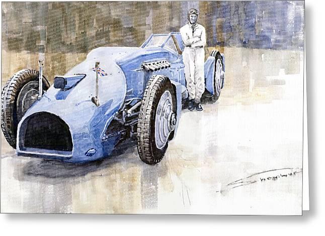Bluebird 1933 Daytona Malkolm Campbell Greeting Card by Yuriy  Shevchuk
