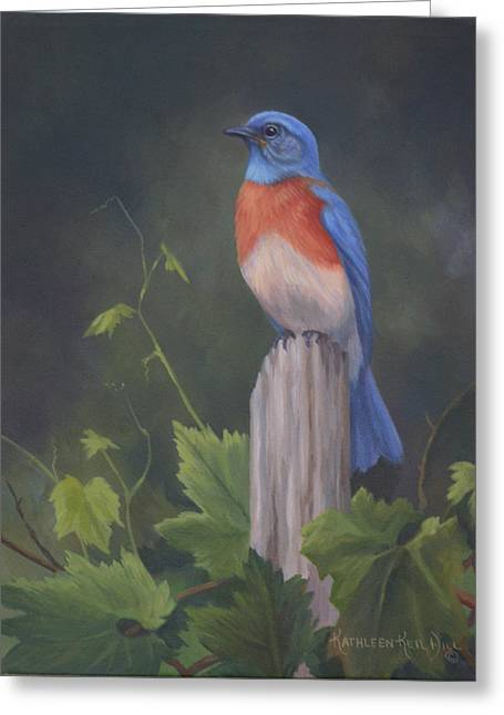 Bluebird Greeting Card by Kathleen  Hill