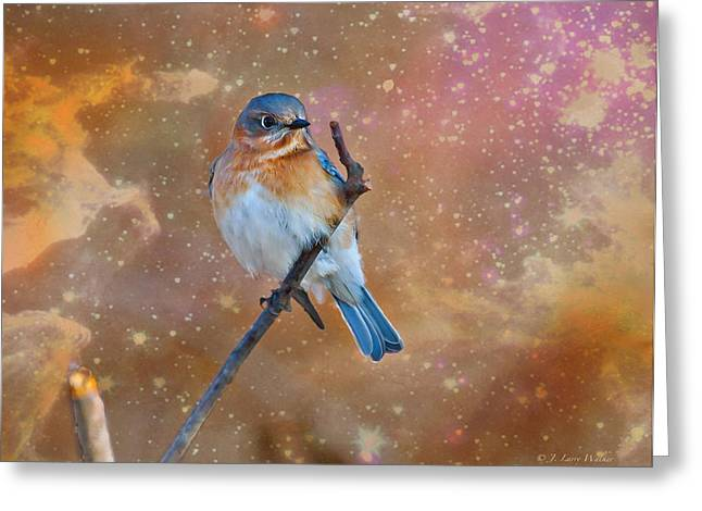 Wildlife Digital Art Greeting Cards - Bluebird Perched In Space Greeting Card by J Larry Walker