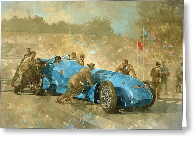 Racing Car Greeting Cards - Bluebird Greeting Card by Peter Miller