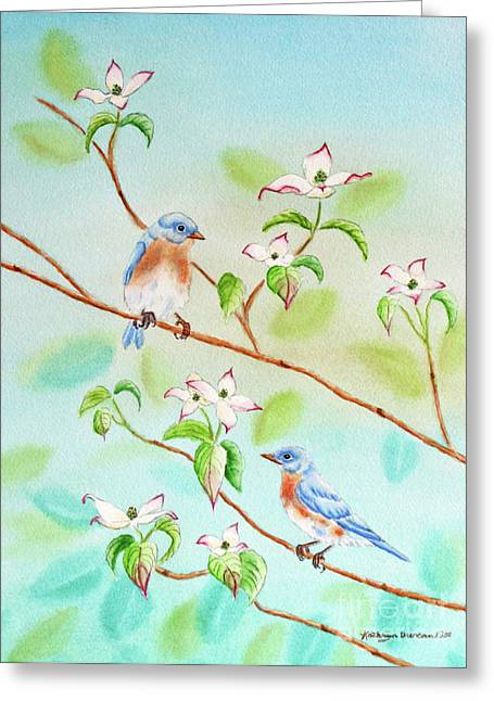 Bluebird Greeting Cards - Bluebirds In Dogwood Tree II Greeting Card by Kathryn Duncan