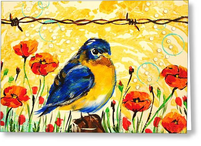 Paula Shaughnessy Greeting Cards - Bluebirds1 Greeting Card by Paula Shaughnessy
