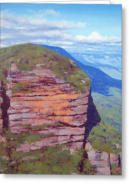 Sheds Greeting Cards - BluecMountains Cliff Greeting Card by Graham Gercken