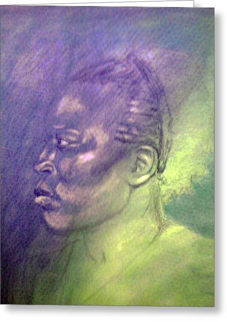 African-american Pastels Greeting Cards - Bluegreen Dream Greeting Card by Paula Michelle