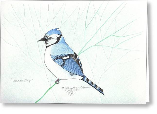 Barn Pen And Ink Greeting Cards - Bluejay Greeting Card by William Deering