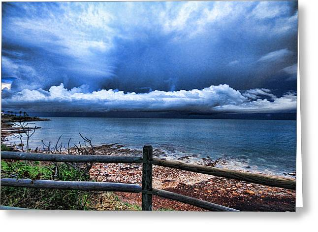 Fence Pole Greeting Cards - Bluer on the Other Side Greeting Card by Douglas Barnard