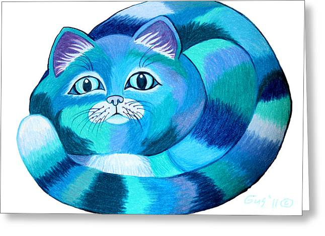 Cat Drawings Greeting Cards - Blues Cat 2 Greeting Card by Nick Gustafson
