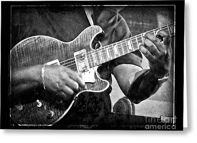 Strut Photographs Greeting Cards - Blues Guitarist Greeting Card by Jeanne  Woods