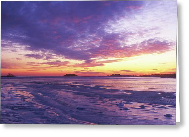 Connecticut Winter Greeting Cards - Bluff Point Winter Sunset Greeting Card by John Burk