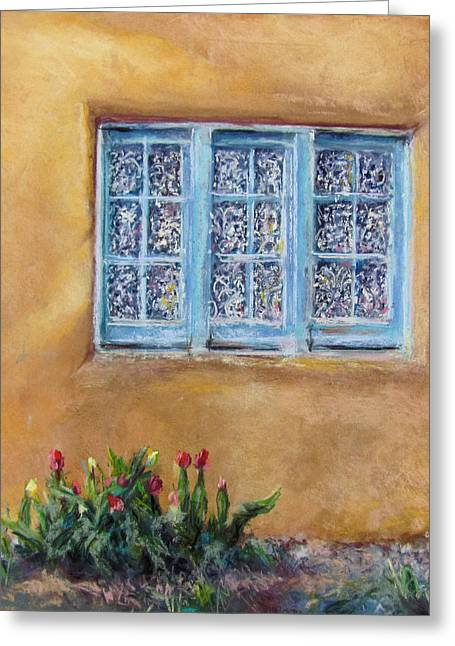 Taos Pastels Greeting Cards - Blumenscheins Window Greeting Card by Julia Patterson