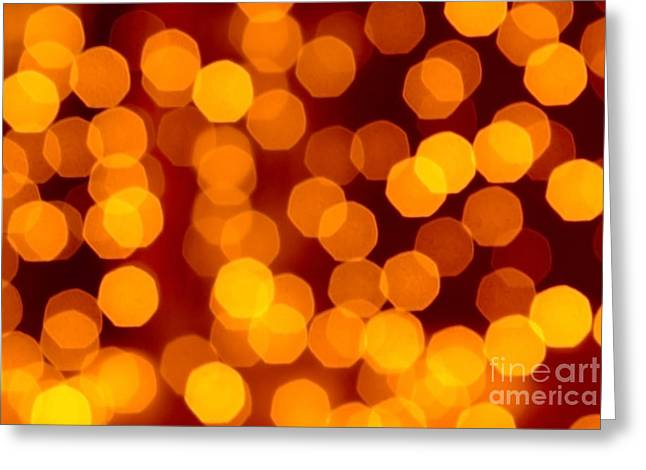 Fruits Photographs Greeting Cards - Blurred Christmas Lights Greeting Card by Carlos Caetano