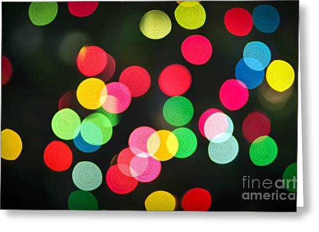 Yuletide Greeting Cards - Blurred Christmas lights Greeting Card by Elena Elisseeva