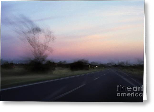 Azur Greeting Cards - Blurred road at sunset Greeting Card by Sami Sarkis