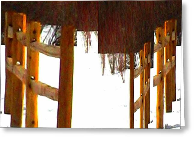 Split Rail Fence Greeting Cards - Blushes in Snow Greeting Card by Gretchen Wrede