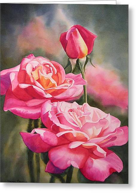 Roses Paintings Greeting Cards - Blushing Roses with Bud Greeting Card by Sharon Freeman