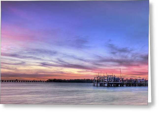 Sunrise Greeting Cards - Blushing Skies Greeting Card by Evelina Kremsdorf