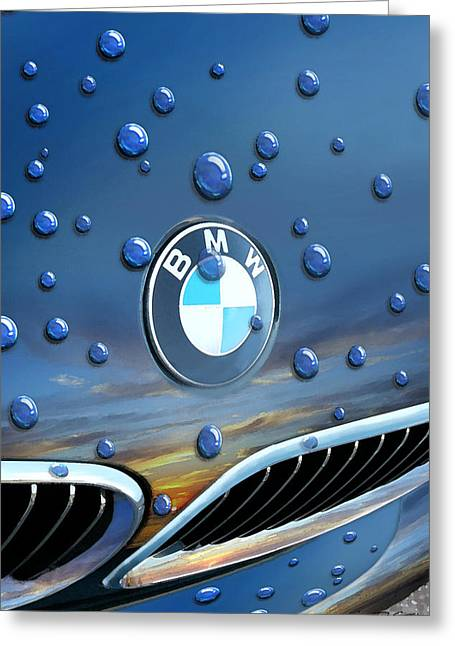 Bmw Watercolor Greeting Cards - BMW - Roundel and Raindrops Greeting Card by Rod Seel