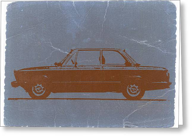 Old Car Greeting Cards - BMW 2002 Orange Greeting Card by Naxart Studio