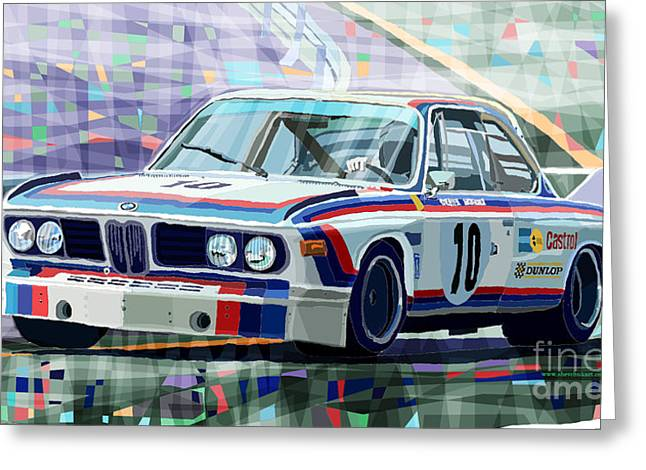 Racing Car Greeting Cards - BMW 3 0 CSL 1st SPA 24hrs 1973 Quester Hezemans Greeting Card by Yuriy  Shevchuk