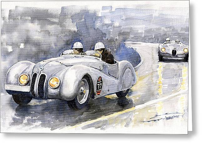 Watercolour Paintings Greeting Cards - BMW 328 Roadster Greeting Card by Yuriy  Shevchuk