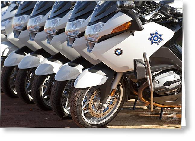 Police Motorcycles Greeting Cards - BMW Police Motorcycles Greeting Card by Jill Reger