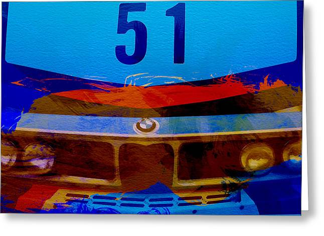 Cylinders Greeting Cards - BMW Racing colors Greeting Card by Naxart Studio