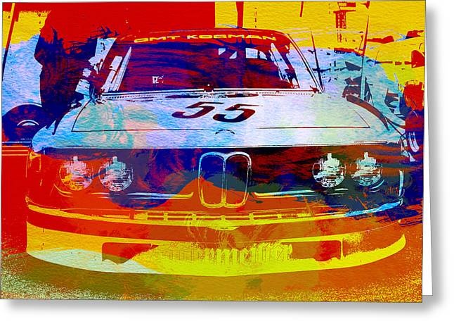 Racing Car Greeting Cards - BMW Racing Greeting Card by Naxart Studio