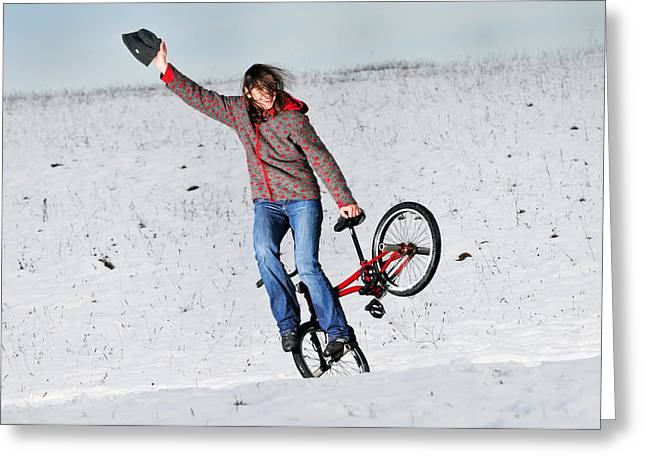 Bmx Flatland In The Snow - Monika Hinz Greeting Card by Matthias Hauser