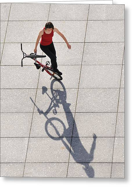 Bmx Flatland Shadow Play Monika Hinz Greeting Card by Matthias Hauser