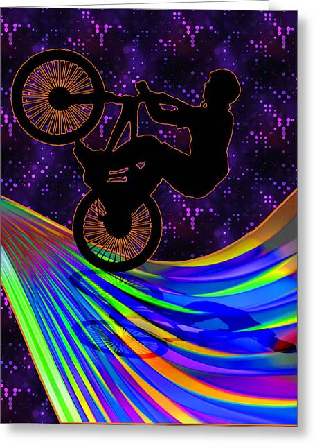 Teenager Tween Silhouette Athlete Hobbies Sports Greeting Cards - BMX on a Rainbow Road  Greeting Card by Elaine Plesser
