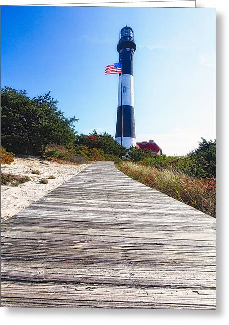 Robert Moses Greeting Cards - Boardwalk and Lighthouse Greeting Card by George Oze