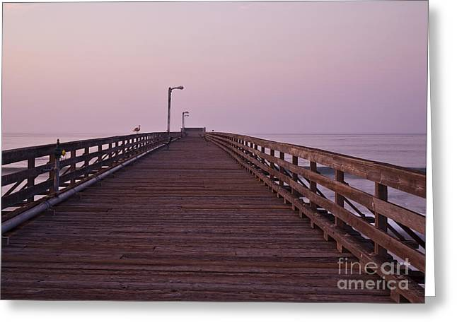 Beach At Night Greeting Cards - Boardwalk at Dawn Greeting Card by David Buffington