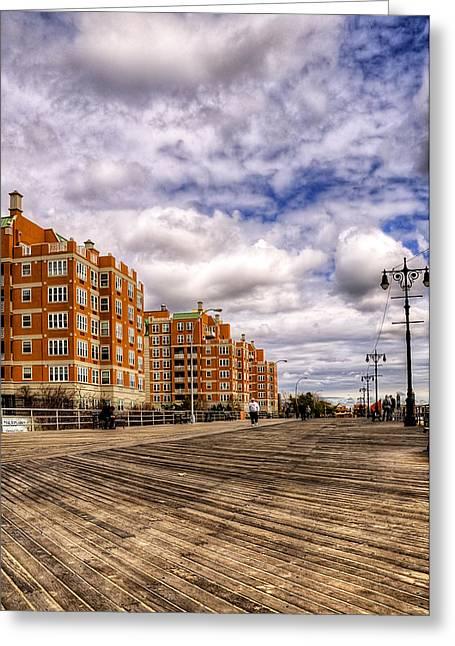York Beach Greeting Cards - Boardwalk Brooklyn01 Greeting Card by Svetlana Sewell