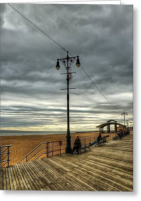 York Beach Greeting Cards - Boardwalk Brooklyn03 Greeting Card by Svetlana Sewell