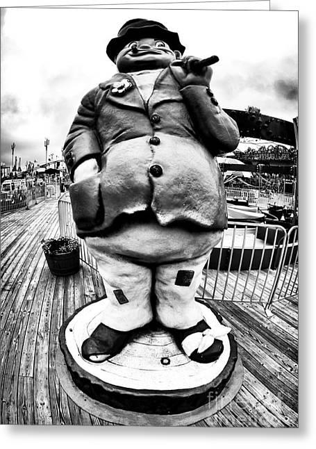 Boardwalk Hobo Greeting Card by John Rizzuto