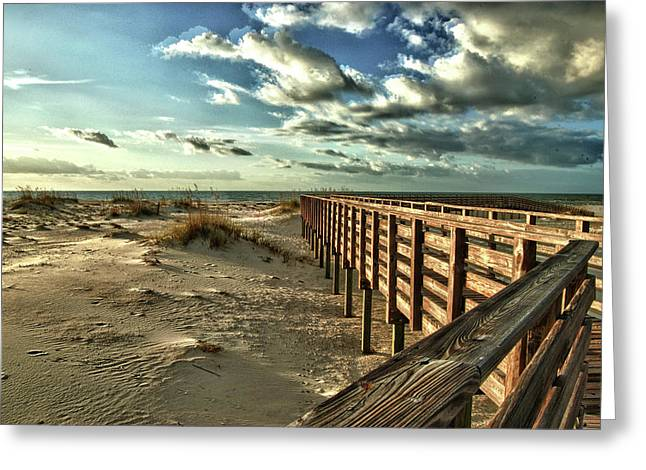 Crimson Tide Greeting Cards - Boardwalk on the Beach Greeting Card by Michael Thomas