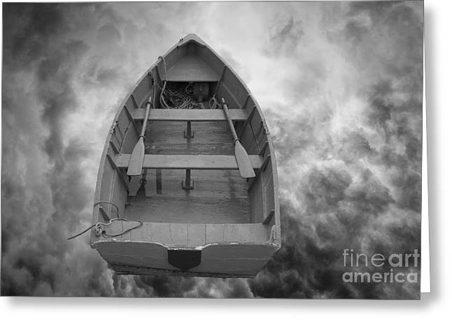 Composite Photo Greeting Cards - Boat and Clouds Greeting Card by David Gordon