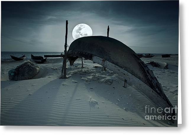 Gloaming Greeting Cards - Boat and moon Greeting Card by MotHaiBaPhoto Prints