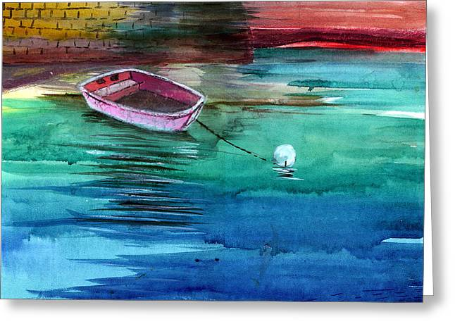 Boat and the buoy Greeting Card by Anil Nene