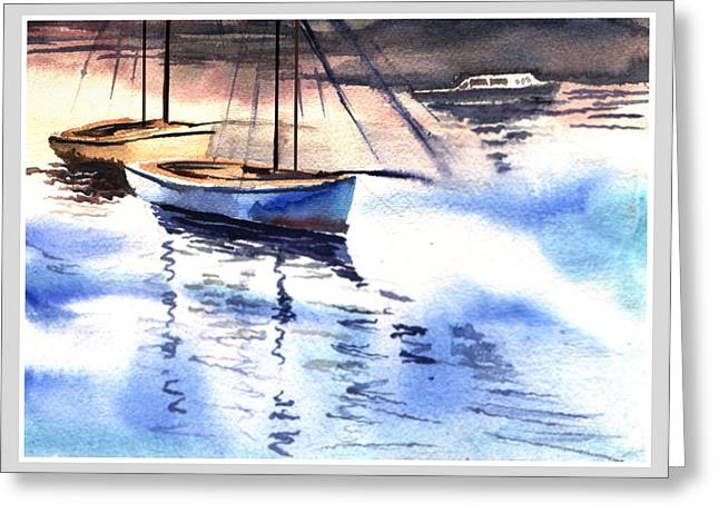 Anil Nene Greeting Cards - Boat and the River Greeting Card by Anil Nene