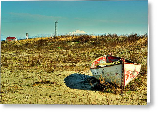 Mount Wilson Greeting Cards - Boat at Point Wilson Greeting Card by Dale Stillman