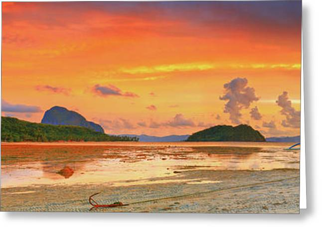 Yellow Canoe Greeting Cards - Boat at sunset Greeting Card by MotHaiBaPhoto Prints