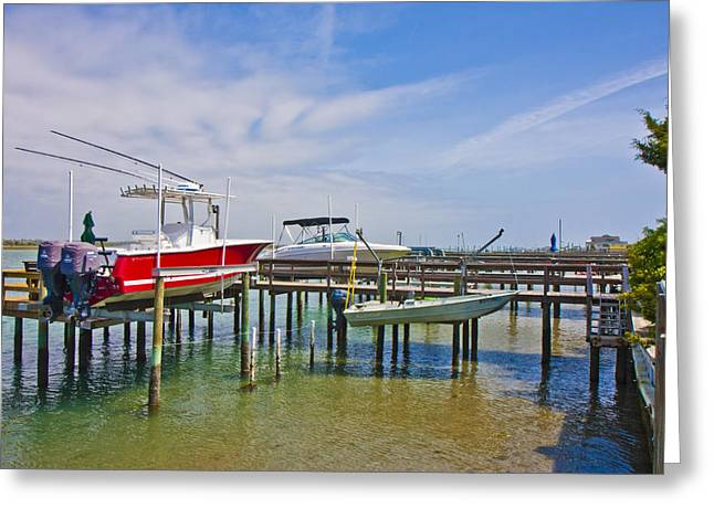 Topsail Island Greeting Cards - Boat Caddy Greeting Card by Betsy A  Cutler
