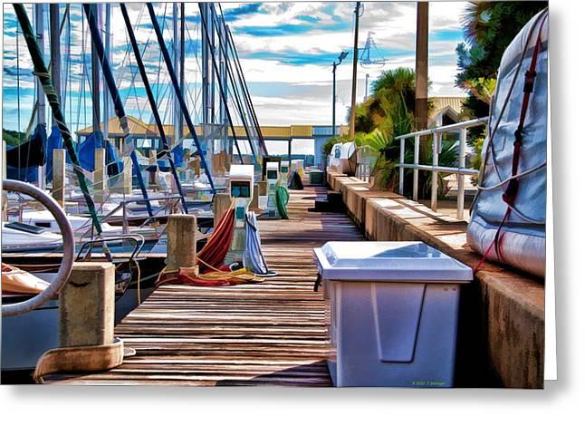 Sailboats Docked Mixed Media Greeting Cards - Boat Dock Greeting Card by Deborah