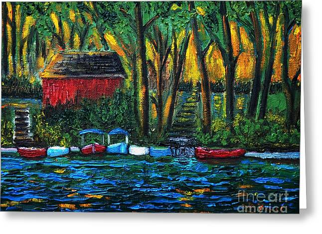 Boats On Water Greeting Cards - Boat Dock in The Evening Greeting Card by Reb Frost