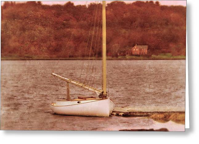 Boat Docked on the River Greeting Card by Jill Battaglia